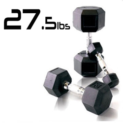 27.5lbs Rubber Coated Hex Dumbbell