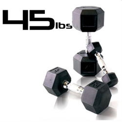 45lbs Rubber Coated Hex Dumbbell