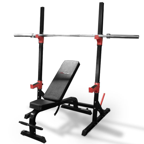 AmStaff Fitness Squat Rack with Adjustbale Bench
