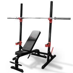 AmStaff Fitness Squat Rack with Adjustable Bench