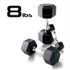 8lbs Rubber Coated Hex Dumbbell