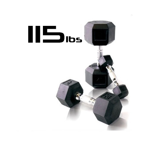 115lbs Rubber Coated Hex Dumbbell