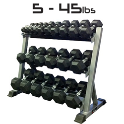 5 - 45lbs Rubber Dumbbell Set with Commercial 3-Tier Dumbbell Rack