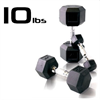 10lbs Rubber Coated Hex Dumbbell