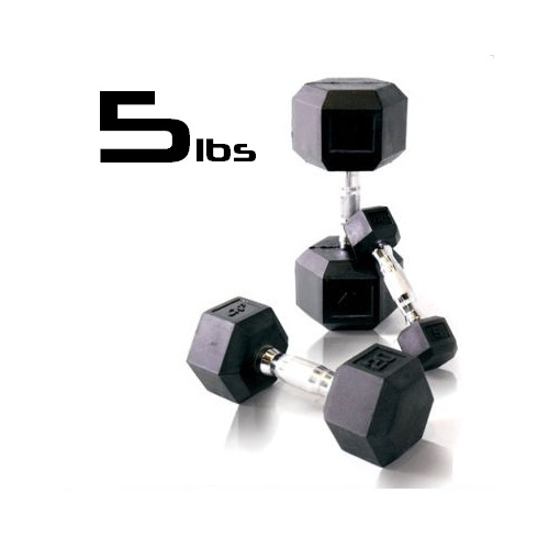 5lbs Rubber Coated Hex Dumbbell
