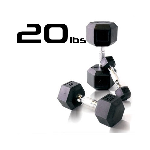 20lbs Rubber Coated Hex Dumbbell