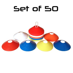 50 Multi-color Field Marker Cones/Discs