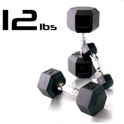 12lbs Rubber Coated Hex Dumbbell