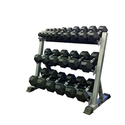 5 - 45lbs Virgin Rubber Dumbbell Set with Commercial 3-Tier Dumbbell Rack
