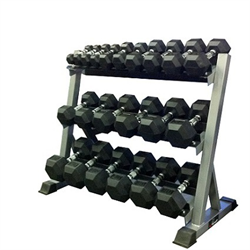 5 - 50lbs Virgin Rubber Dumbbell Set with Commercial 3-Tier Dumbbell Rack 40""