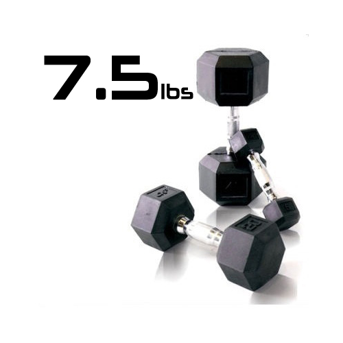 7.5lbs Rubber Coated Hex Dumbbell