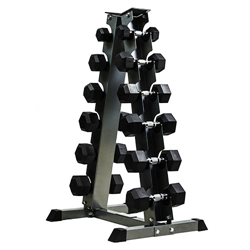 5 - 30lbs Virgin Rubber Dumbbell Set with 6-Pair Dumbbell Rack