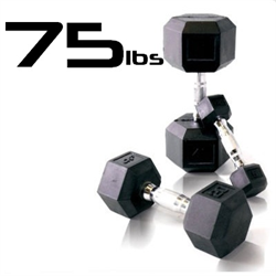 75lbs Rubber Coated Hex Dumbbell