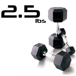 2.5lbs Rubber Coated Hex Dumbbell