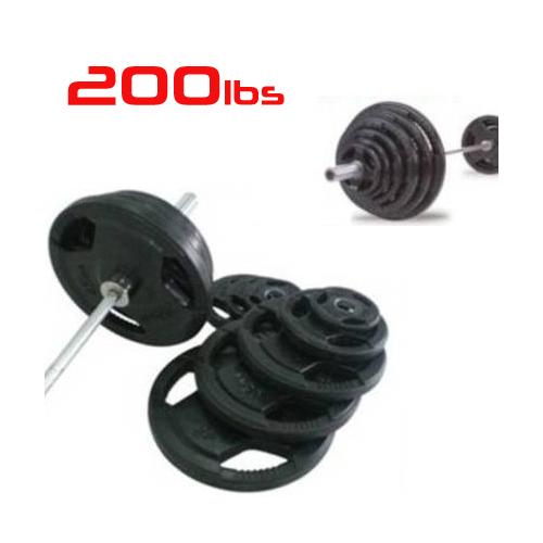 200lbs Rubber Grip Olympic Weight Set Plates 2""