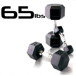 65lbs Rubber Coated Hex Dumbbell
