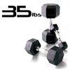 35lbs Rubber Coated Hex Dumbbell