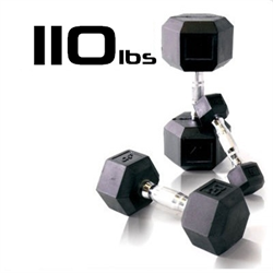 110lbs Rubber Coated Hex Dumbbell