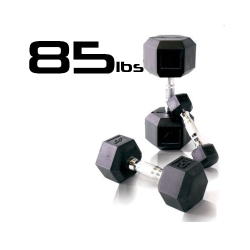85lbs Rubber Coated Hex Dumbbell