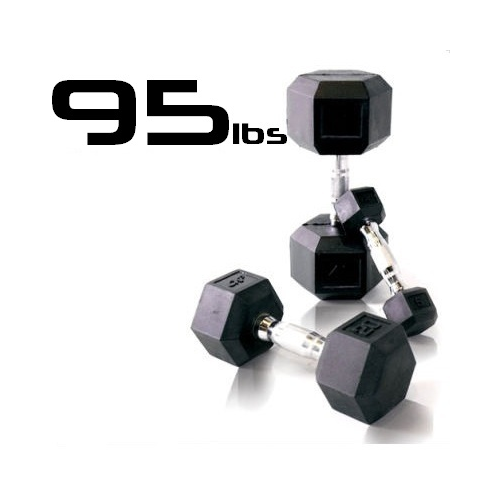 95lbs Rubber Coated Hex Dumbbell