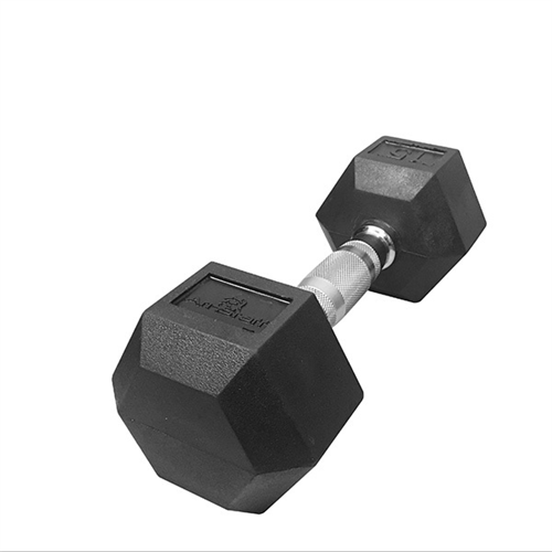110lbs Virgin Rubber Hex Dumbbell