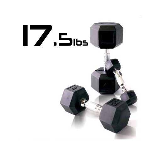 17.5lbs Rubber Coated Hex Dumbbell