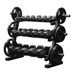 5 - 45lbs Dumbbell Set w/ 255lbs Cast Iron Olympic Set & Storage Rack