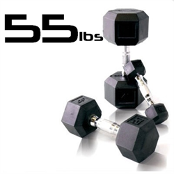 55lbs Rubber Coated Hex Dumbbell