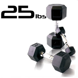 25lbs Rubber Coated Hex Dumbbell