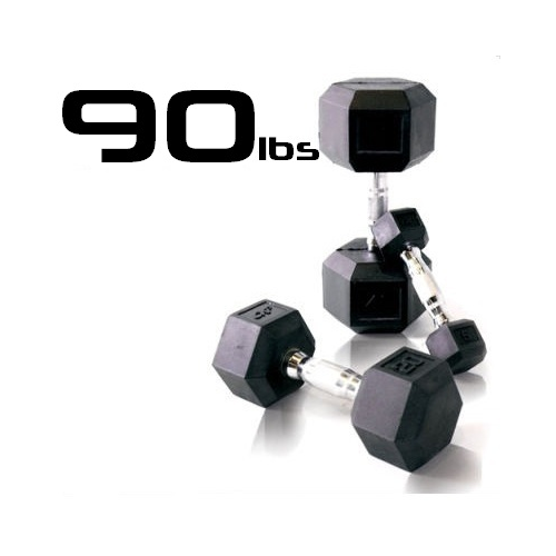90lbs Rubber Coated Hex Dumbbell