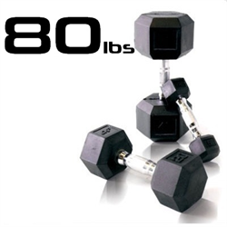 80lbs Rubber Coated Hex Dumbbell