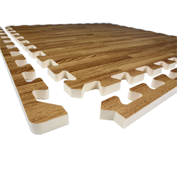 Light Wood Heavy-Duty Interlocking Foam Mat