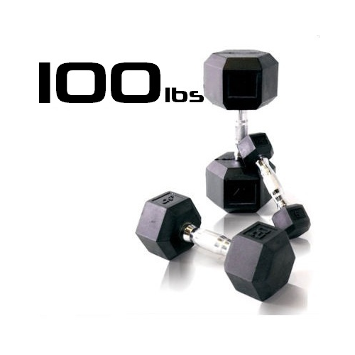 100lbs Rubber Coated Hex Dumbbell
