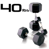40lbs Rubber Coated Hex Dumbbell