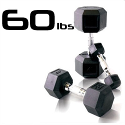 60lbs Rubber Coated Hex Dumbbell