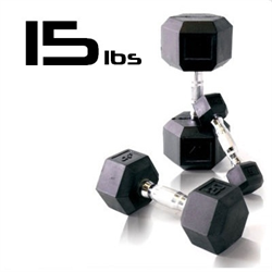 15lbs Rubber Coated Hex Dumbbell