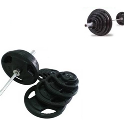 300lbs Virgin Rubber Grip Olympic Weight Set w/ 1500lbs Pro Bar