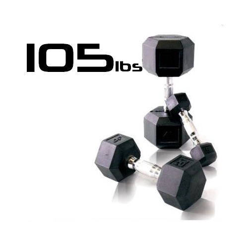 105lbs Rubber Coated Hex Dumbbell