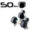 50lbs Rubber Coated Hex Dumbbell