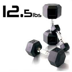 12.5lbs Rubber Coated Hex Dumbbell