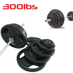 300lbs Rubber Grip Olympic Weight Set Plates 2""