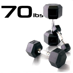70lbs Rubber Coated Hex Dumbbell
