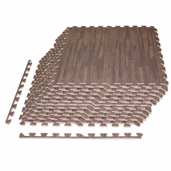 48 Sqft 10mm Dark Wood Foam Interlocking Tiles - 12 Tiles