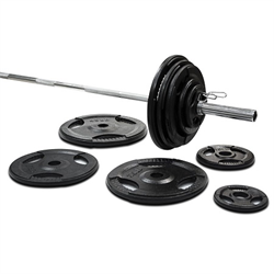 295lbs Cast Iron Grip Olympic Weight Set w/ 1500lbs Pro Bar