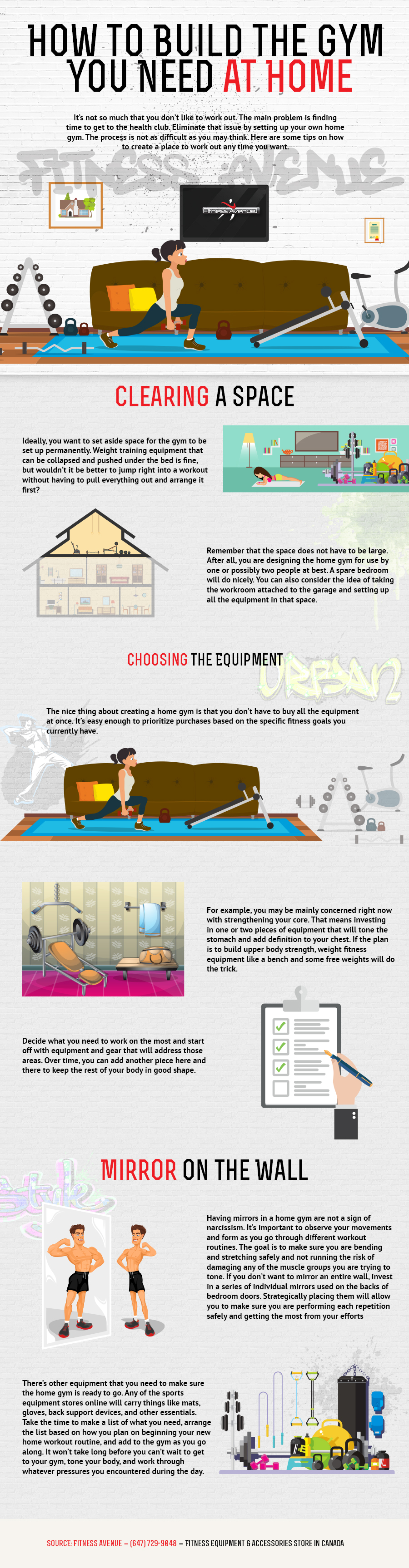 How to Build the Gym You Need at Home - Fitness Avenue Infographic